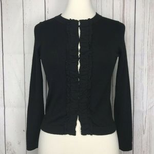 Banana Republic Merino Wool Ruffle Cardigan Black